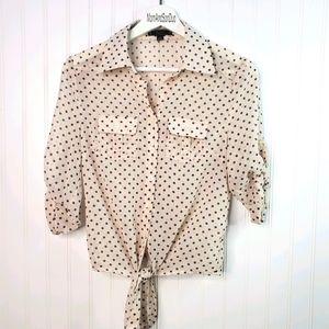 Pearl Cream Polka-dot Front Tie Button Down Shirt
